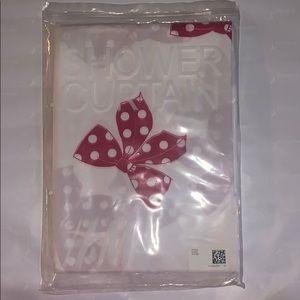 H&M Pink Polka Dot Bow Printed Shower Curtain